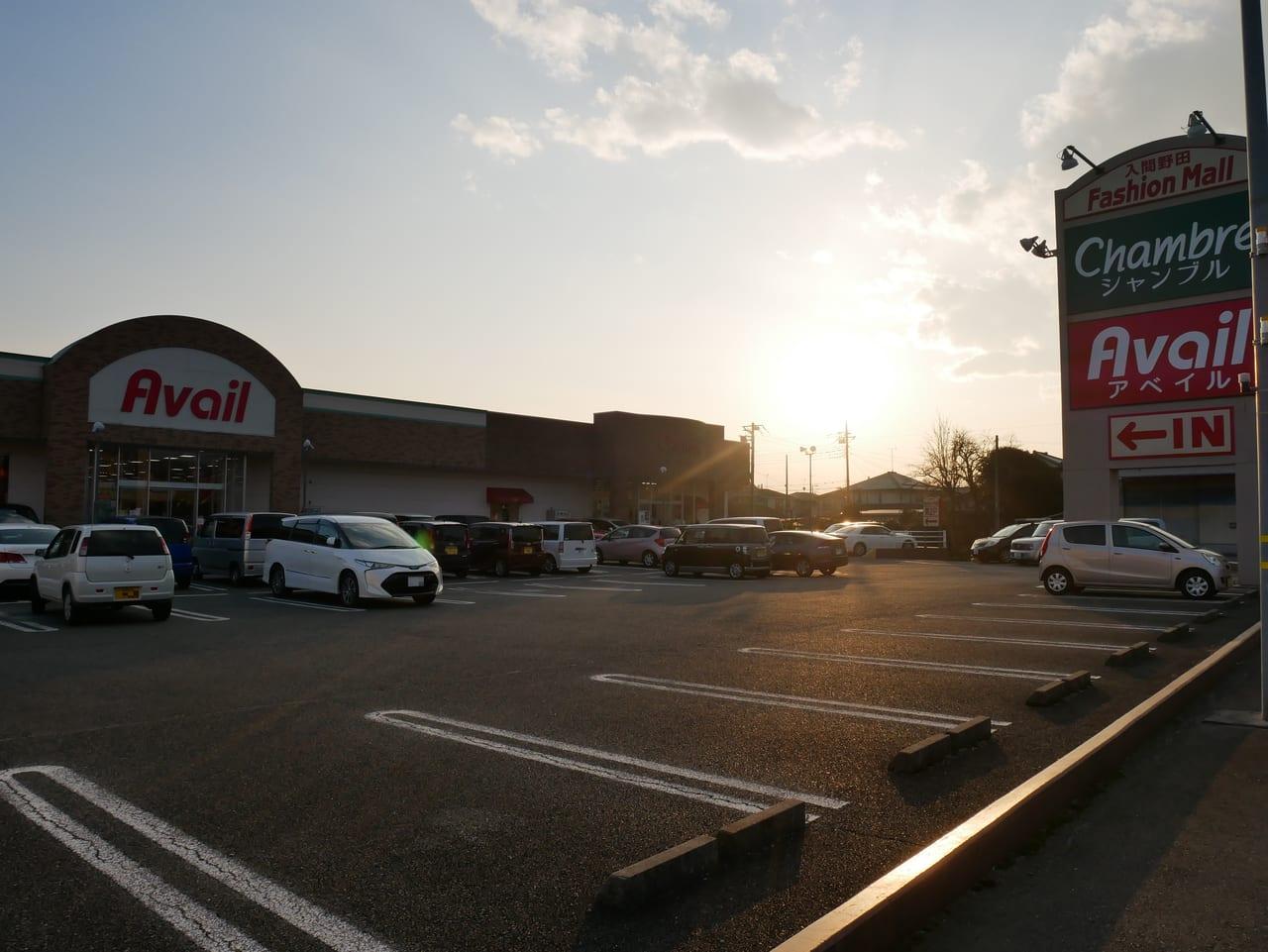 アベイル入間野田店の駐車場